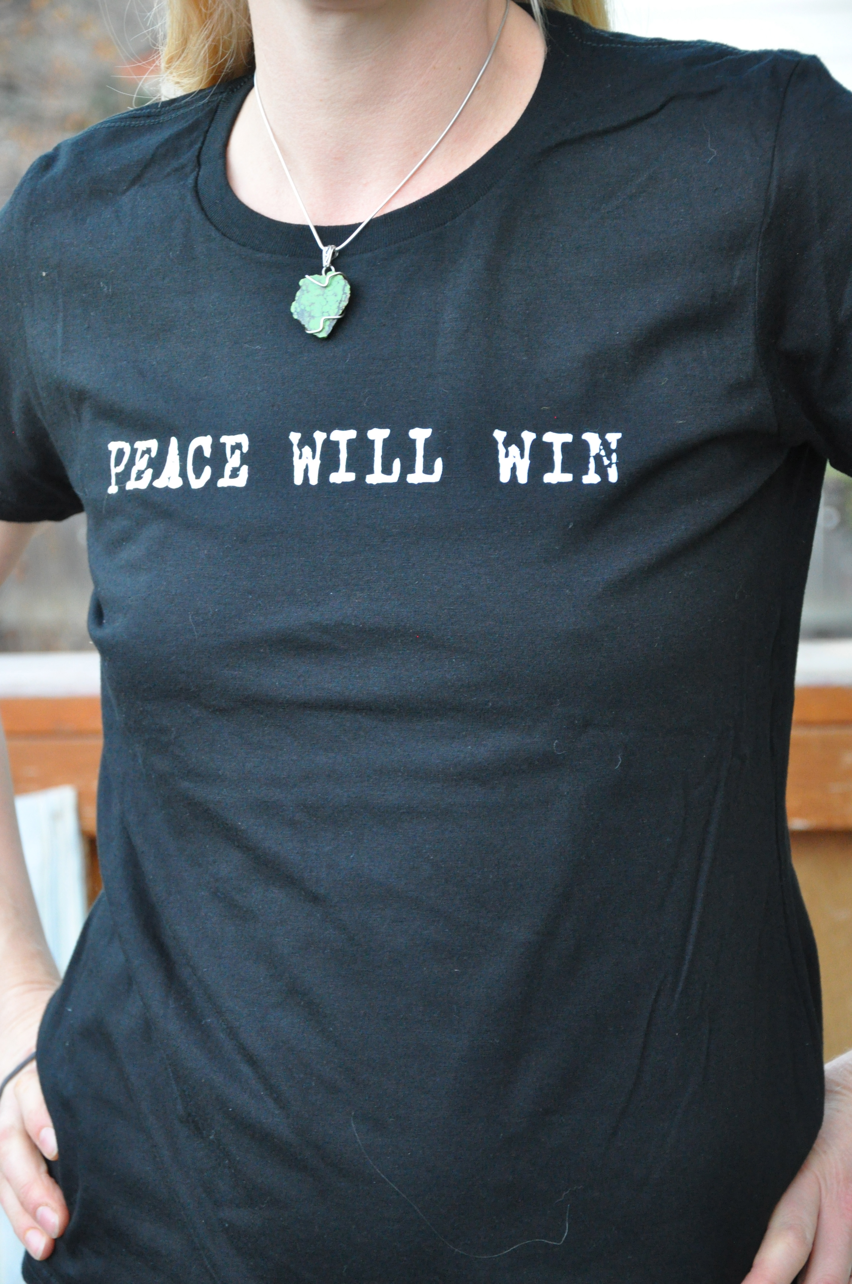Peace Will Win T-Shrt – Front – Ladies – Charcoal Blue